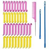 Juego de Rizadores de Pelo, con 20 Rulos de 50 cm, 18 Rulos de 30 cm, 1 Peine, Ganchos de Peinado, para Mujeres y Niñas (Set 1)