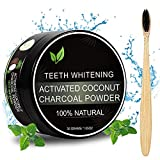 Activated Charcoal Teeth Whitening Powder - Fluoride Free No Hurt on Enamel or Gum Natural Teeth Whitener Effective Remover Tooth Stains with Bamboo Brush 1.05oz