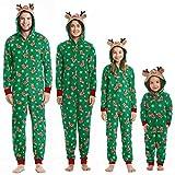 Pijamas Familiares Navideñas Pijama Navidad Familia Mono Navideños Mujer Niños Niña Hombre Pijama Reno Entero Una Pieza Trajes para Navidad Pijamas a Juego Manga (Hombre, M)