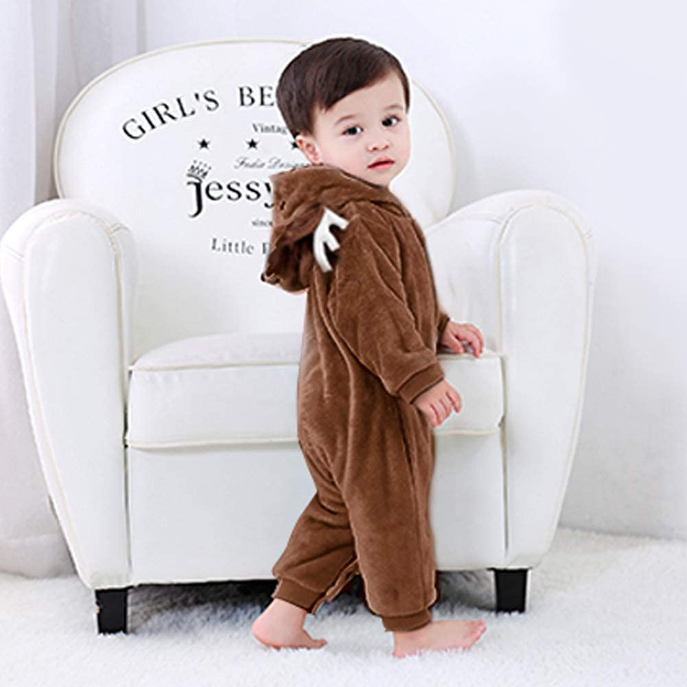 Baby Girls Boys Winter Rompers Animal Hooded Flannel Snowsuit Jumpsuit Unisex Bodysuit Sleepwear Clothes Christmas Outfits Long Sleeve for 0-24 Months