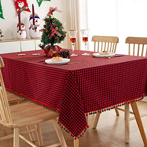 DSman Lavable Manteles, Prueba de Aceite Manteles para Bodas Fiesta Buffet Tela Escocesa roja y Verde navideña de poliéster algodón teñido en Hilo