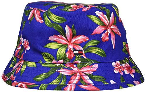 Tommy Hilfiger Mädchen Reversible Bucket HAT Kappe, Blau (Tropical/Surf The Web 901), S (Herstellergröße:S-M)