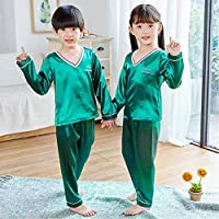 の子供用カーディガンパジャマセットティーン長袖シルクパジャマキッズガールズホームウェア2個スーツ子供用パジャマ