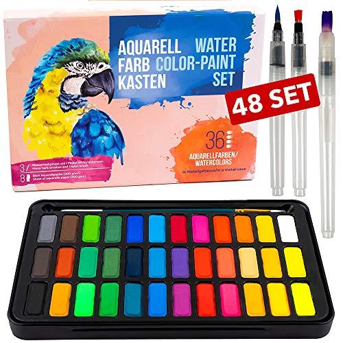 Manci Set di Colori ad Acquerello - Acquarelli 48 Set, Composto da 36 Colori acquerelli, 8 Fogli di Carta per Acquerello, 1 Pennello e 3 spazzole per Serbatoi d'Acqua