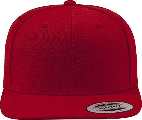 Flexfit Classic Snapback Cap, Mütze Unisex Kappe für Damen und Herren, One Size, Farbe red/red