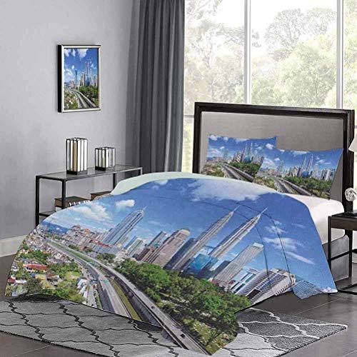 Juego de Funda nórdica de Horizonte de Kuala Lumpur en un día despejado Distrito financiero Carretera Rascacielos Hotel Stitch Juego de Funda nórdica Fácil de Limpiar Gris pálido Azul Verde