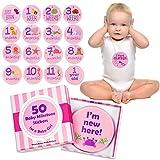 Pegatinas de hitos mensuales para bebé, paquete de 50, bonita caja de recuerdos, rosa o azul, pegatinas de semana, mes, vacaciones, divertidas, originales hitos, Rosado