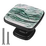 Pomos cuadrados de gabinete 4pcs para cajones de aparador Gabinete Textura de mármol verde (2)
