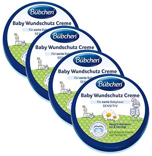Bübchen Baby Wundschutz Creme, sensitive Wundheilsalbe, Wund- und Heilsalbe für zarte Babyhaut, mit Zinkoxid, Kamille und Panthenol, Menge: 4 x 150 ml