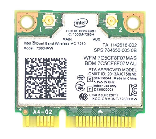 RCC 7260HMW,Laptop Network Card,7260AC AC 7260 Half Mini PCI-E Card Laptop WiFi Card Upgrade 5GHz WiFi Band Bluetooth