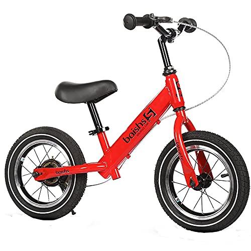 ASDF Balance Bikes Bicicleta de Equilibrio roja para niño de 2 años, Bicicleta para niños pequeños de 12 Pulgadas con Frenos, Bicicleta de Equilibrio para niños/niñas Regalos de cumpleaños