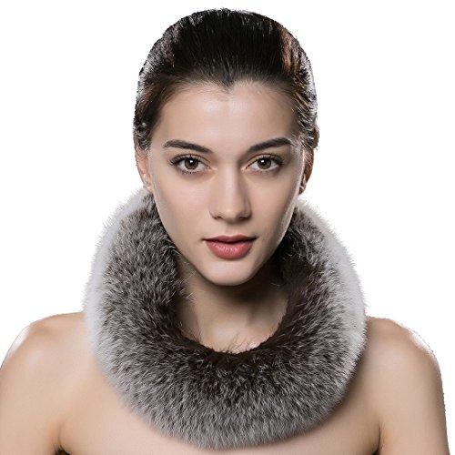 URSFUR Frauen Warme Flaumige Fell Schal aus Echte Fuchspelz Fell Schlauchschal Halstuch-Kaffee Frost