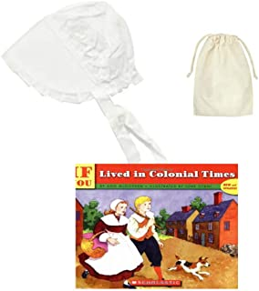 Medium White Childs Thanksgiving Pilgrim Bonnet with Purse and Book ~ Colonial America Costume Set for Kids