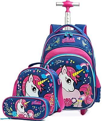 Meetbelify Mochilas de unicornio con ruedas para niñas, mochila escolar con caja de almuerzo