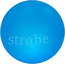 Planet Dog Orbee-Tuff Strobe, Interactive Blinking LED Light Up Durable Dog Ball, 100% Guaranteed, Made in The USA, 3-inch, Blue and Glow