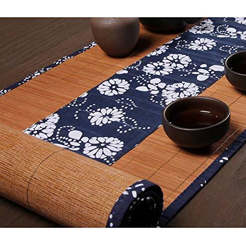 Camino De Mesa De Tela Floral De Bambú, Tapetes Lavables Antideslizantes Resistentes Al Calor para Mantel Individual De Mesa De Comedor, Color Té Negro(Size:30×60cm)