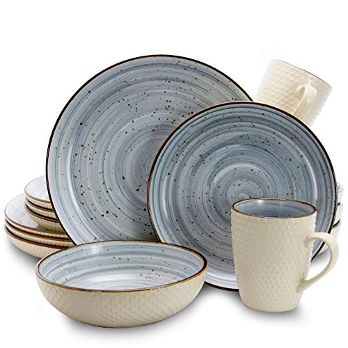 Elama Round Stoneware Luxurious Mellow Dinnerware Dish Set, 16 Piece, Speckle Powder Blue and White