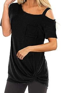Women Ladies Fashion Short Sleeve Solid Cold Shoulder Pocket Tops T Shirt Blouse