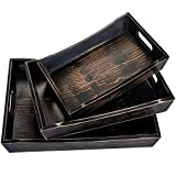 Novus Luxe Ottoman Trays – Set of 3 Multifunctional Coffee Table Trays – Rustic Wooden Decorative Trays for Farmhouse Home Décor - Dresser Organizers – Breakfast Serving Trays for Bed & Tea Table