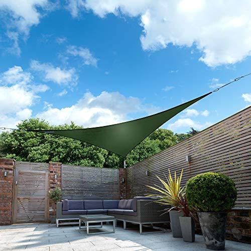 Kookaburra Wasserfest Sonnensegel Grün Wasserabweisend Imprägniert Wetterschutz 98% UV Schutz für Garten Terrasse und Balkon (3,6m Dreieck)