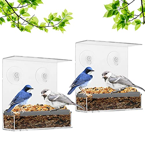 Fenster Vogelfutterspender Vogelhäuschen mit Abnehmbarem Tablett, Ablauflöcher und 6 Saugnäpfe, Futterstation für Wildvögel, 2 Stück