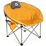 Rock Cloud Folding Camping Chair Oversized Padded Moon Round Saucer Chairs Outdoor for Camp Lawn Hiking Fishing Sports, Yellow