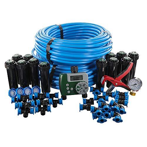Orbit 50021 In-Ground Blu-Lock Tubing System and Digital Hose Faucet Timer, 2-Zone Sprinkler Kit