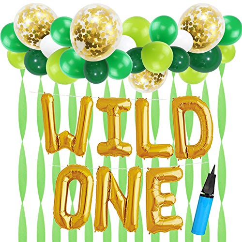 16 INCH WILD ONE Kids First Birthday Balloons with 18 Inch Big Gold Confetti Balloons, Baby Girl Boy 1st Bday Party Supplies with Air Pump