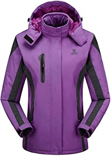 FYXKGLa Ladies Outdoor Cold-Proof Charge Warm wear-Resistant Windproof Mountaineering Jacket (Color : Purple, Size : XXXL)