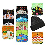 Ohbabyka Baby Waterproof AI2 All-in-Two Charcoal Bamboo Cloth Diapers Nappies 9PCS, Bamboo Charcoal Inserts 9pcs