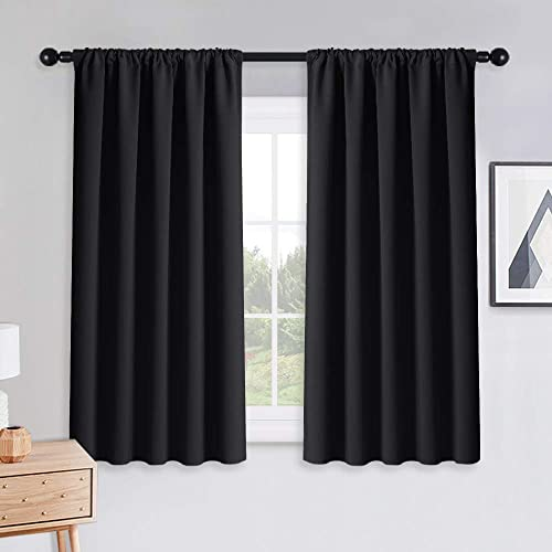 PONY DANCE Bedroom Blackout Curtains - Light Block Solid Soft Rod Pocket Energy Efficient Thermal Insulated Blackout ...