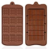 YOYUSH 2 Pcs Silicone Chocolate Moulds,Non-Stick Chocolate Mold,Mini Chocolate bar Mould, Two Different Styles of Brown Ice Cube Tray Candy Chocolate Baking Kitchen Mold