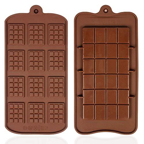 Stampi per Praline e Caramelle in Silicone da 2 Pezzi, Non Facile da Attaccare, Facile da Togliere Stampo per Cioccolato per Uso Alimentare, due Diversi Stili di Stampo per Cioccolato Marrone