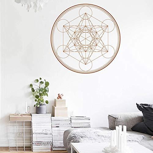 HNXDP HEILIGE GEOMETRIE Wandtattoo Metatrons Würfel Alchemie Geometrische Wand Vinyl Aufkleber Linie Kreis Mandala 57x57cm