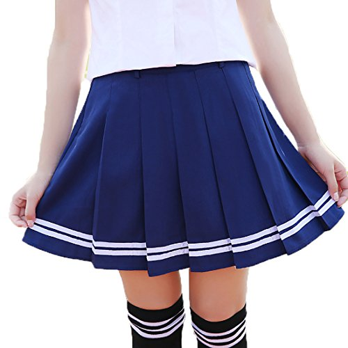 URSFUR hochwertige Rock Schulmädchen Kostüm knielang Damen Kostüm Kostüm Outfit Kostüme Dress, 40-41cm, blau mit weiß