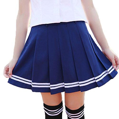 URSFUR hochwertige Rock Schulmädchen Kostüm knielang Damen Kostüm Kostüm Sexy Halloween Kostüme Fancy Dress Outfit - blau mit weiß