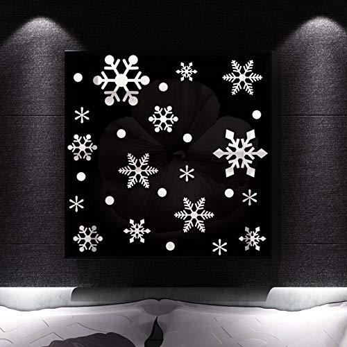 Dasongff raamdecoratie Kerstmis, kerstdecoratie raam afbeeldingen sneeuwvlokken raamdecoratie voor winter Kerstmis raamdecoratie statisch hechtende PVC stickers Kerstmis 1 set zilver