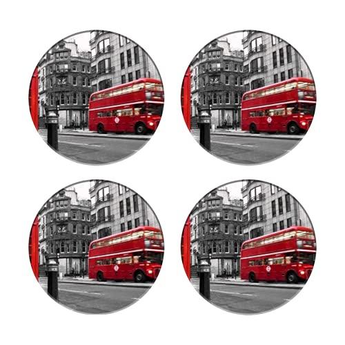 Sottobicchieri in per Bevande,Fleet Street London UK selettivo colore rosso,Tovagliette rotonde riutilizzabili per l'arredamento del bar della cucina