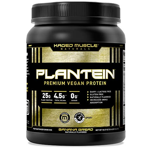 Vegan Protein Powder; Kaged Muscle Plantein, Delicious Organic Pea Protein Powder with Enhanced Absorption (15 Servings, Banana Bread)