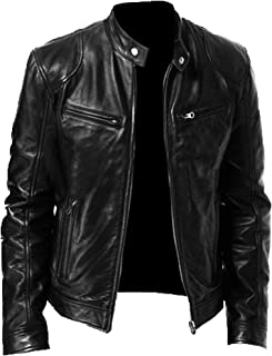 Koodred Men's Stand Collar Leather Jacket Motorcycle Lightweight Faux Leather Outwear