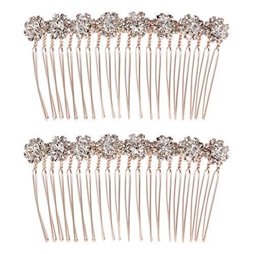 Frcolor 8-Flower Hairpin Combs Crystal Rhinestone Bridal Hair Pins Hair Clips Women Wedding Headpiece for Bride Bridesmaids