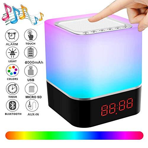 Bluetooth Lautsprecher Lampen, Swonuk Nachttischlampe mit Lautsprecher 5in1 USB Wiederaufladbar Touchlampe mit 12/24H Digital Wecker, Stimmungslicht, Freisprechen, MP3-Player, Lautsprecher, Geschenk