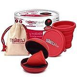 Pack Sileu Travel: Copa menstrual Rose - Modelo de iniciación - Talla S, Rojo, Flexibilidad Standard + Estuche de Flor Rojo + Esterilizador Plegable, Rojo