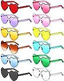 12 Pairs Heart Shaped Rimless Sunglasses Transparent...