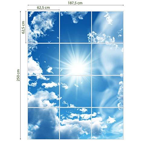 banjado LED Lichtdecke mit Acrylbild   Lichtdeckenplatte Acryl 186x186cm inkl. Deckenpaneel 36 W 4000 Kelvin Clouds   Deckenleuchte Rasterdecke   Bürolampe Praxisleuchte Rezeption Wartezimmer