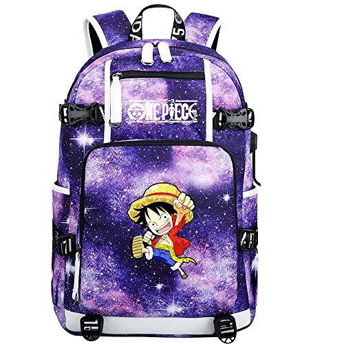 ZZGOO-LL One Piece Monkey·D·Luffy/Roronoa Zoro Mochila con para Mujer, Mochila de Viaje Suave, Mochila para Escuela, Notebook, Mochilas para niñas con USB-H