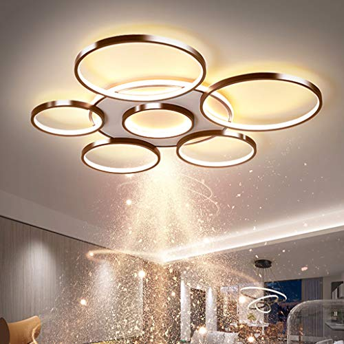 LED Deckenleuchte 106W Wohnzimmerlampe Dimmbar Deckenlampe Mit Fernbedienung Modern Deckenbeleuchtung Schlafzimmer Acryl Lampenschirm Aluminium Esszimmerlampe Büro Braun Deckenlicht 7 Ringe