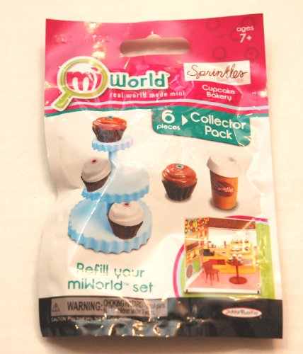 Mi World Collector Pack - Sprinkles Cupcake Bakery - 4 Cupcakes, 1 Cupcake Tower and 1 Coffee Cup with Lid