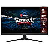 MSI Optix G271 Monitor Gaming 27', Display 16:9 FHD (1920x1080), Frequenza 144Hz, Tempo di risposta 1ms, Pannello IPS, AMD FreeSync, Night Vision, Frameless