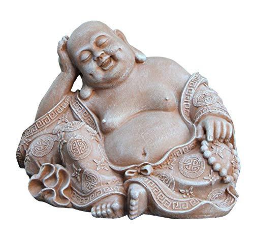 Tiefes Kunsthandwerk Steinfigur Buddha in Terrakotta, Figur Deko Statue frostsicher für Haus und Garten